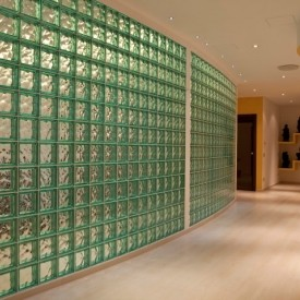 Glass block partition in office