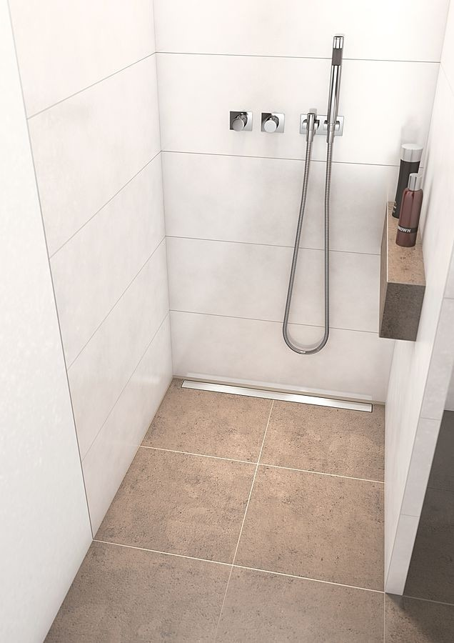 wediu0027s presloped shower base features the only fully sealed and factory integrated waterproof linear drain assembly